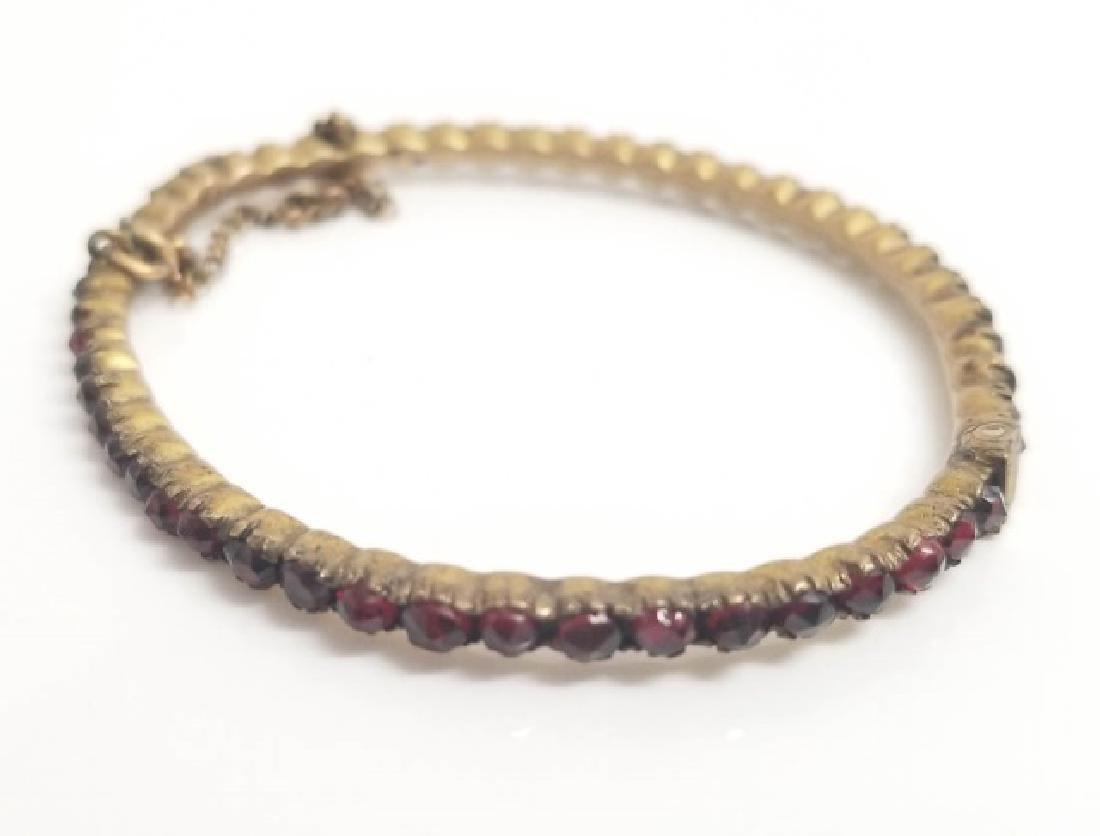 Antique Rose Cut Bohemian Garnet Bangle Bracelet - 6