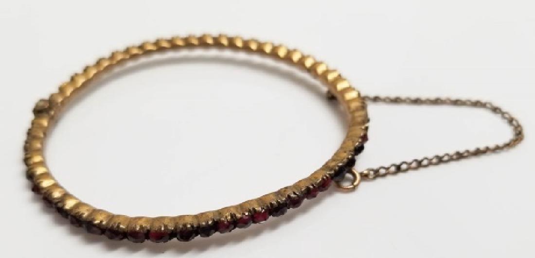 Antique Rose Cut Bohemian Garnet Bangle Bracelet - 7