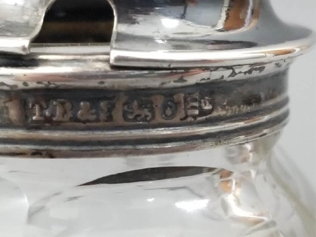 Antique English Cut Glass & Sterling Condiment Jar - 5