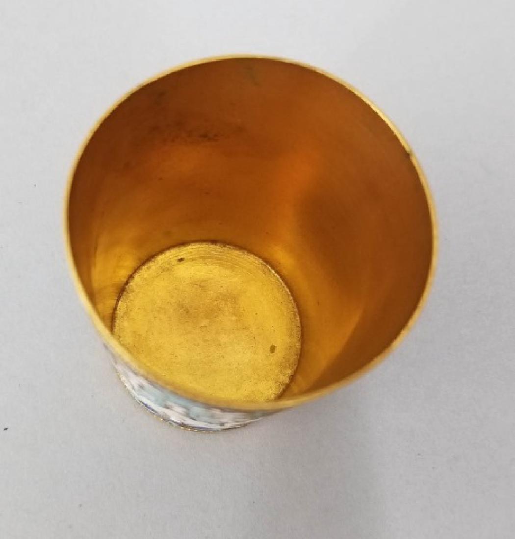 Russian Gilt & Cloisonne Enamel Vodka Cup - 3