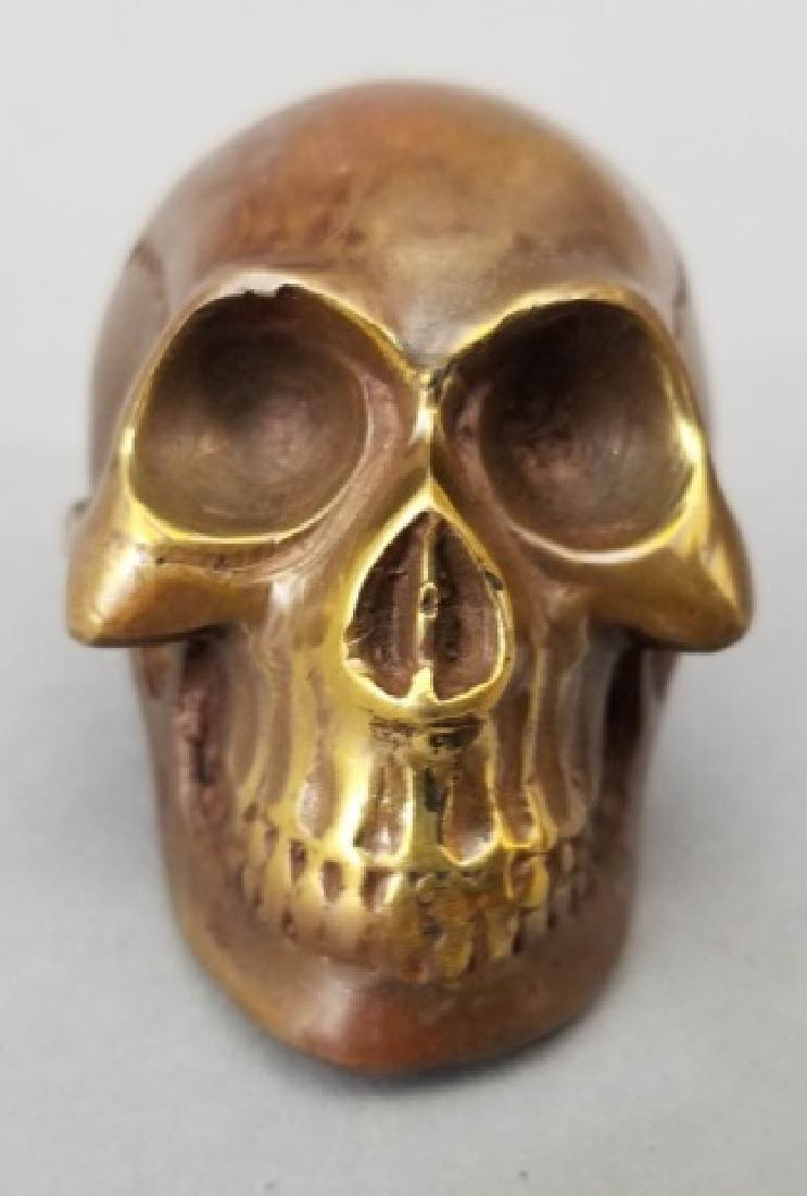 Bronze Table Statue - Memento Mori Human Skull