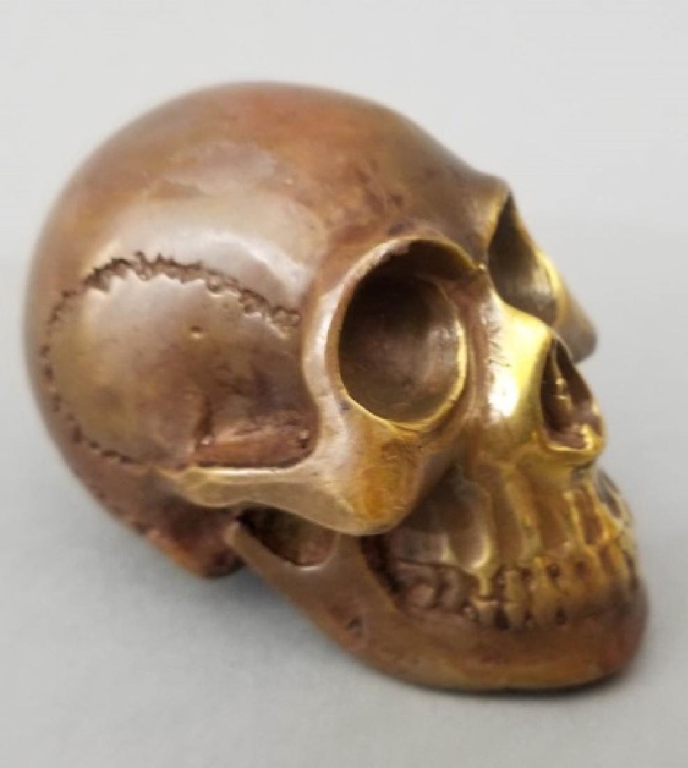 Bronze Table Statue - Memento Mori Human Skull - 4