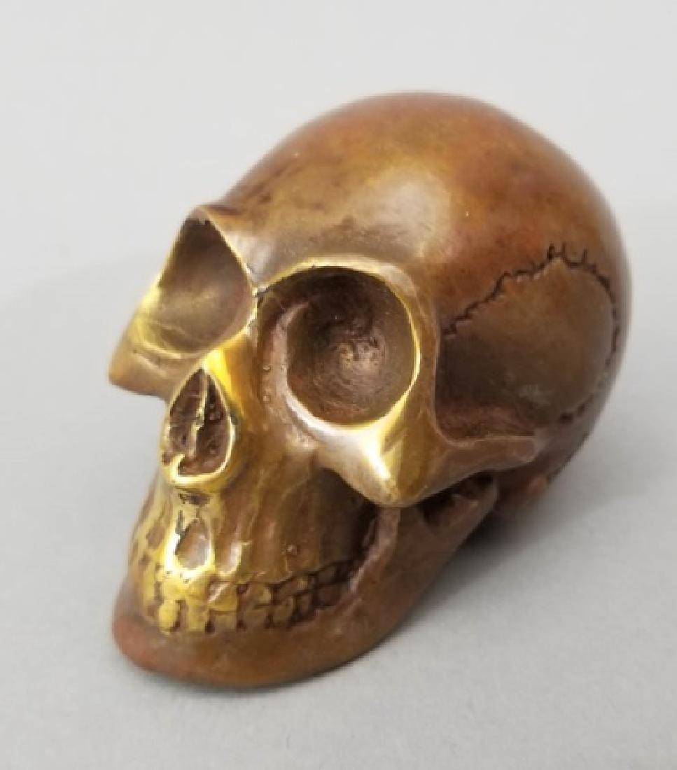 Bronze Table Statue - Memento Mori Human Skull - 5