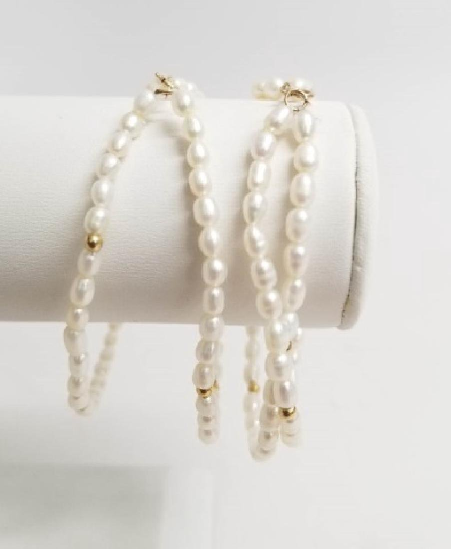 Pair Estate 14kt Yellow Gold & Pearl Bracelets