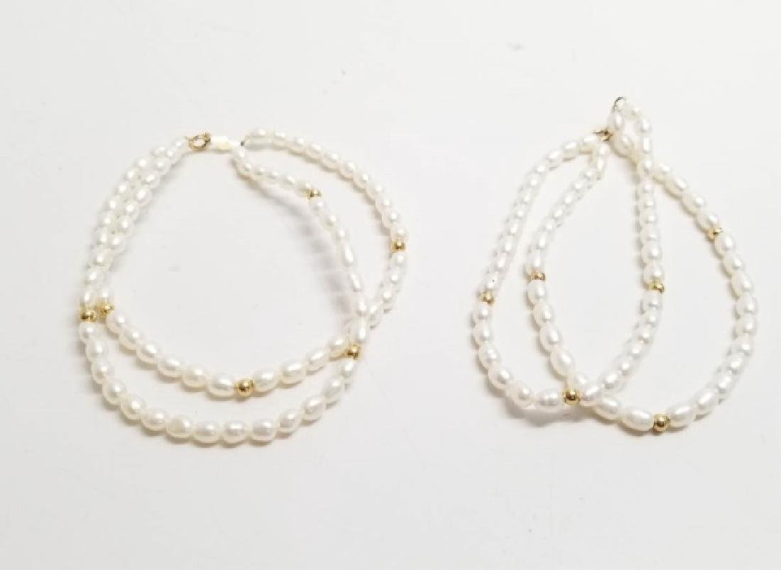 Pair Estate 14kt Yellow Gold & Pearl Bracelets - 3