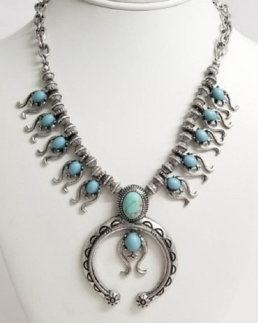 Native American Style Squash Blossom Form Necklace