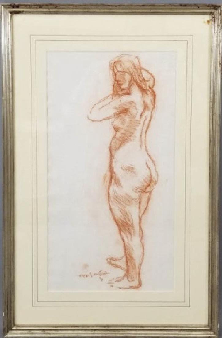 Moses Soyer Standing Nude Sanguine on Paper