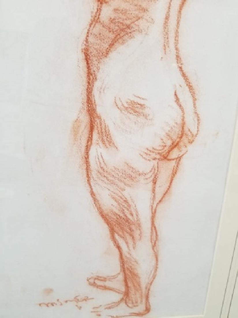 Moses Soyer Standing Nude Sanguine on Paper - 7