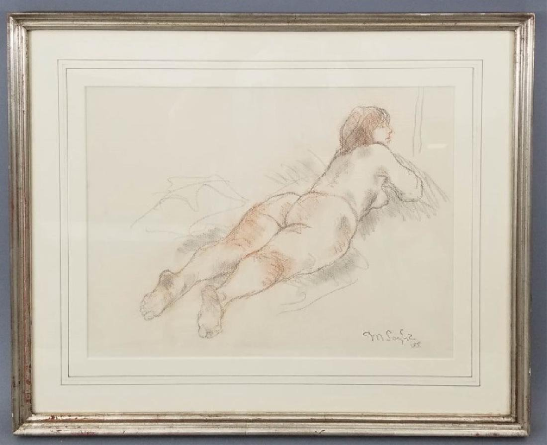 Moses Soyer Reclining Nude in Charcoal on Paper