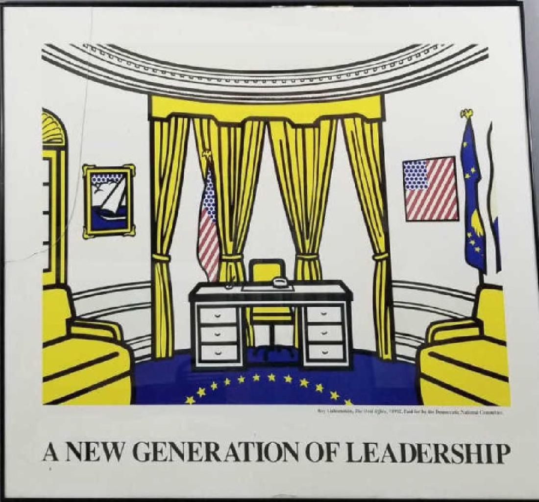 Framed Roy Lichtenstein Democratic DNC Poster 1992