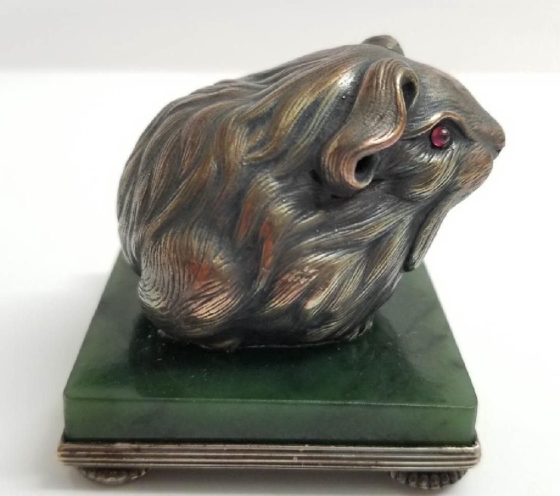 Russian Silver Mouse Statue w Garnet & Nephrite - 3