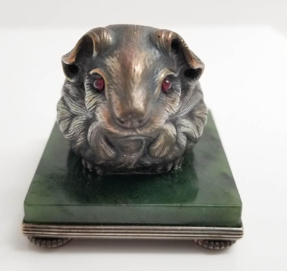 Russian Silver Mouse Statue w Garnet & Nephrite - 4