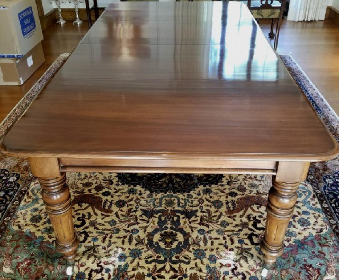 Antique Carved Mahogany Tone Dining Table w Leaves - 2