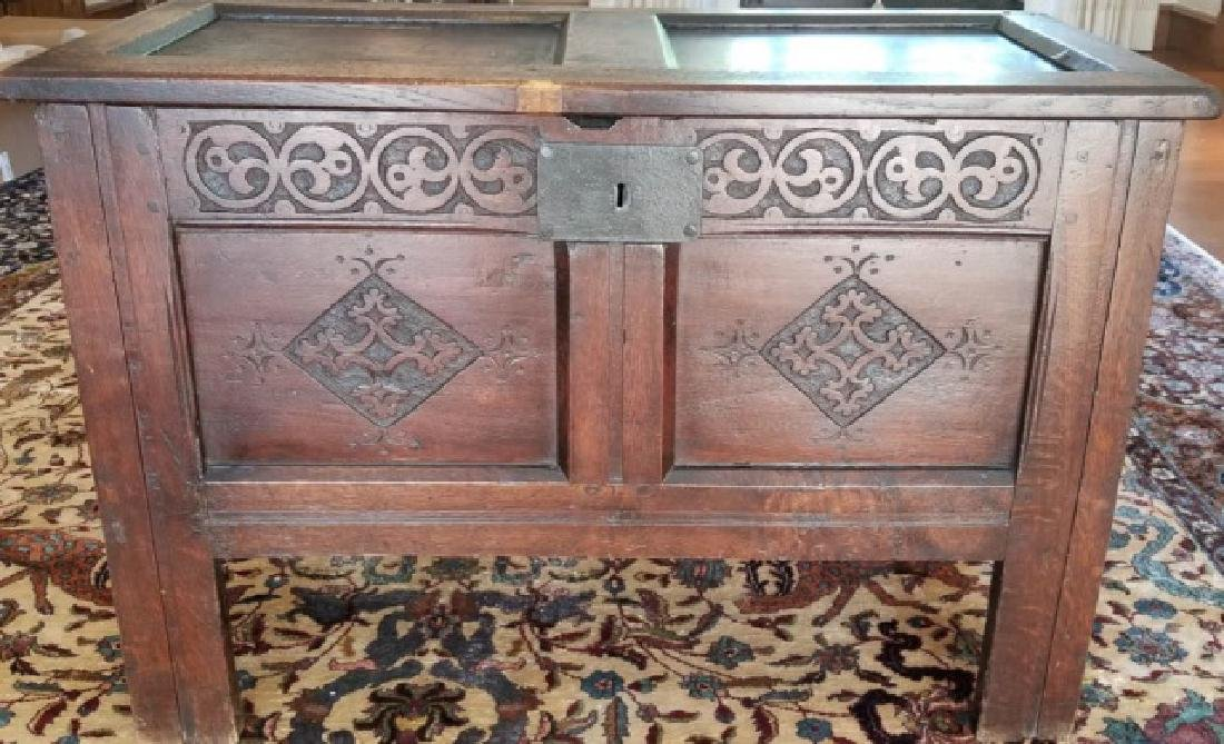 Antique English Jacobean Tudor Style Carved Chest