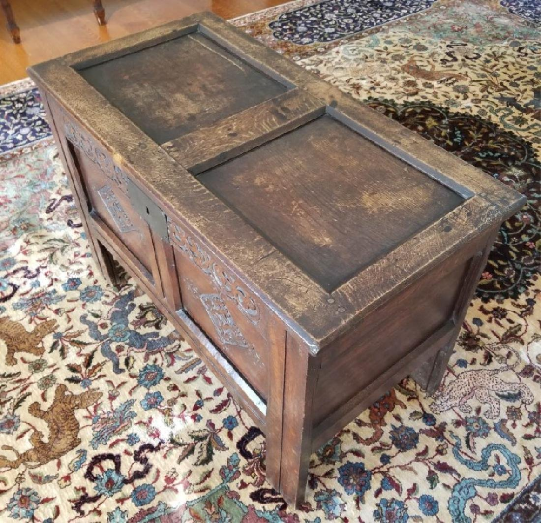 Antique English Jacobean Tudor Style Carved Chest - 2