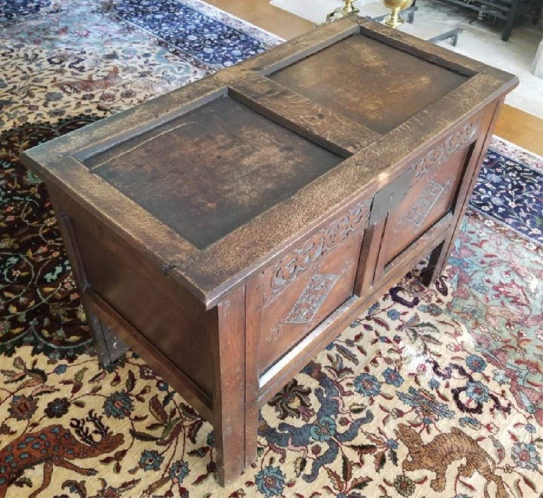 Antique English Jacobean Tudor Style Carved Chest - 4