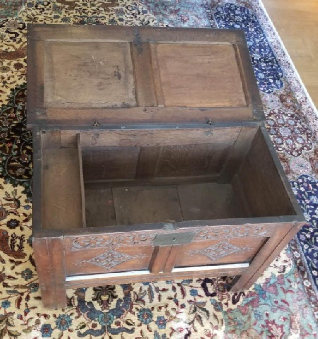 Antique English Jacobean Tudor Style Carved Chest - 5