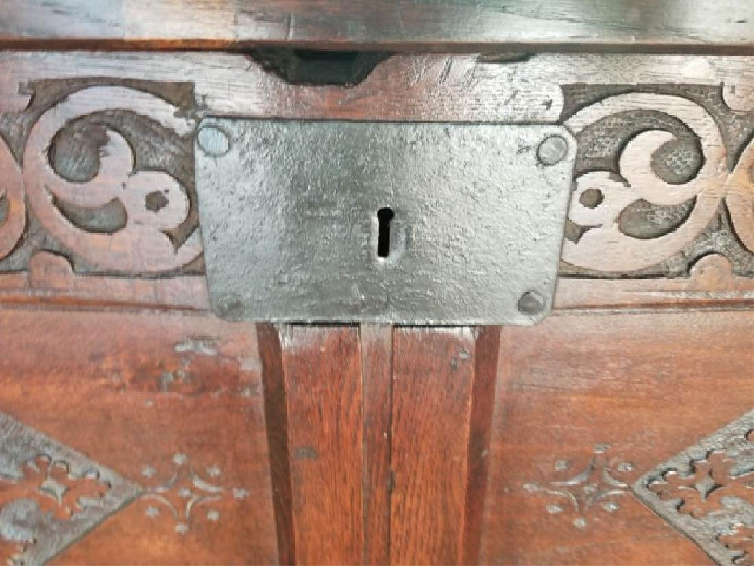Antique English Jacobean Tudor Style Carved Chest - 8