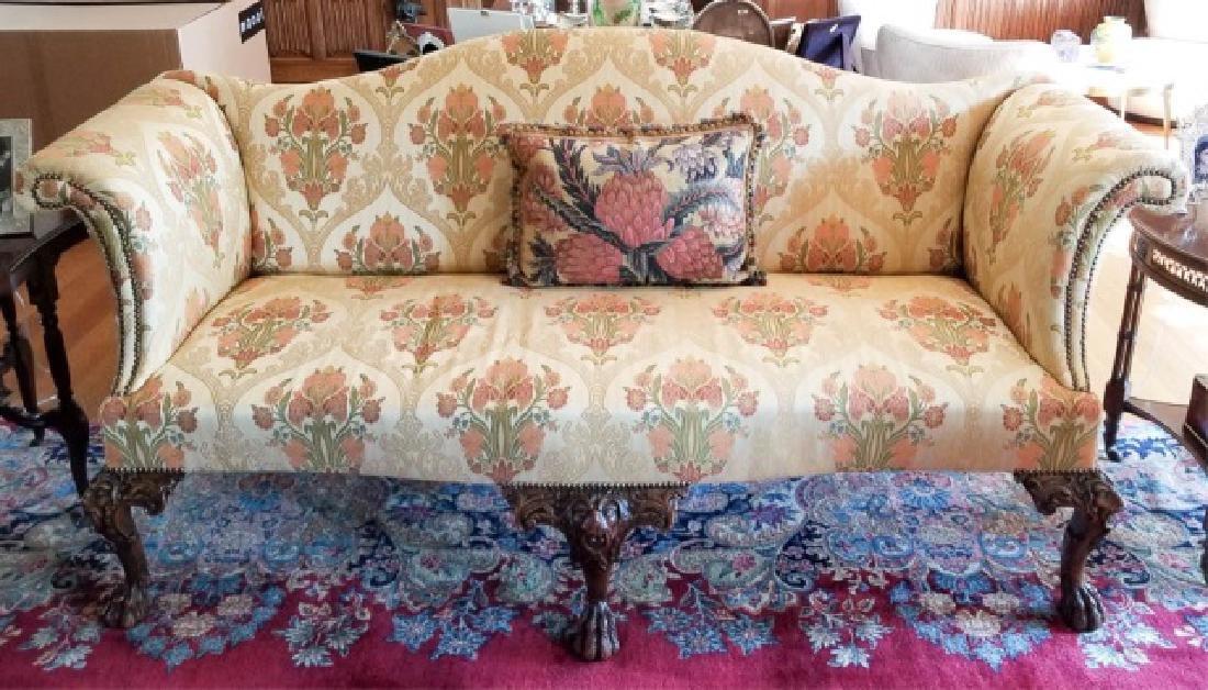 Antique Claw Foot Custom Fabric Camel Back Sofa