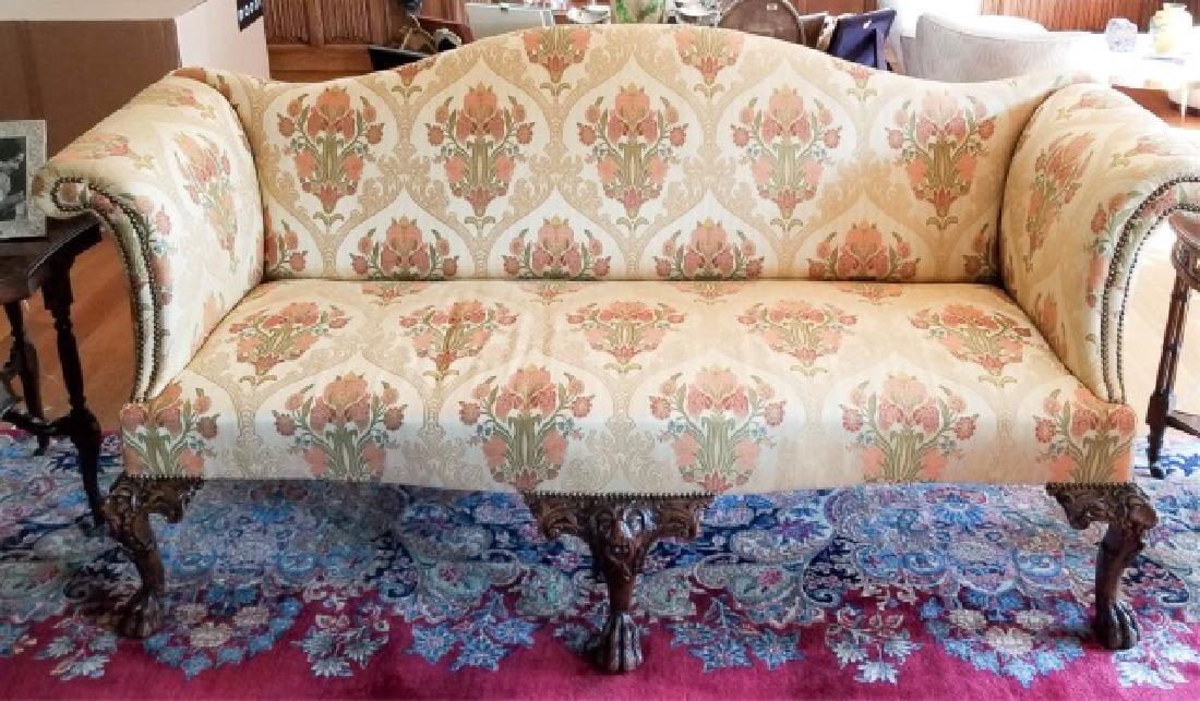 Antique Claw Foot Custom Fabric Camel Back Sofa - 2