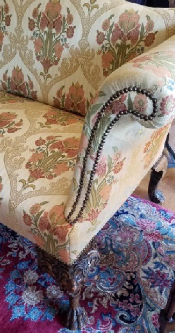 Antique Claw Foot Custom Fabric Camel Back Sofa - 3