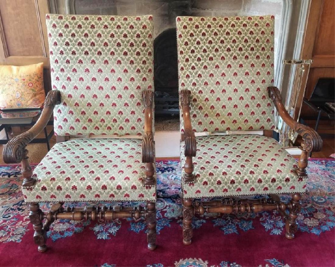 Pair Antique Tudor / Jacobean Carved Armchairs