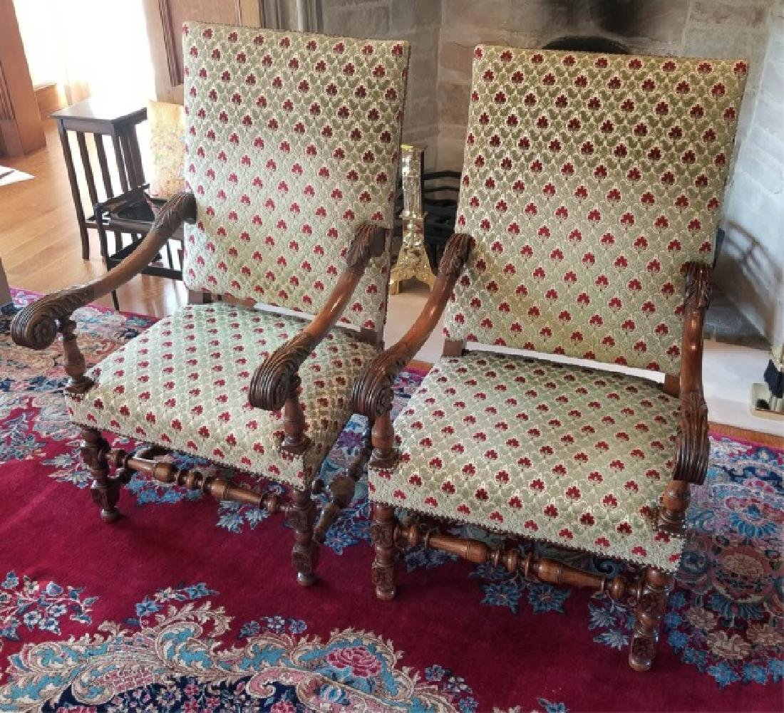 Pair Antique Tudor / Jacobean Carved Armchairs - 2