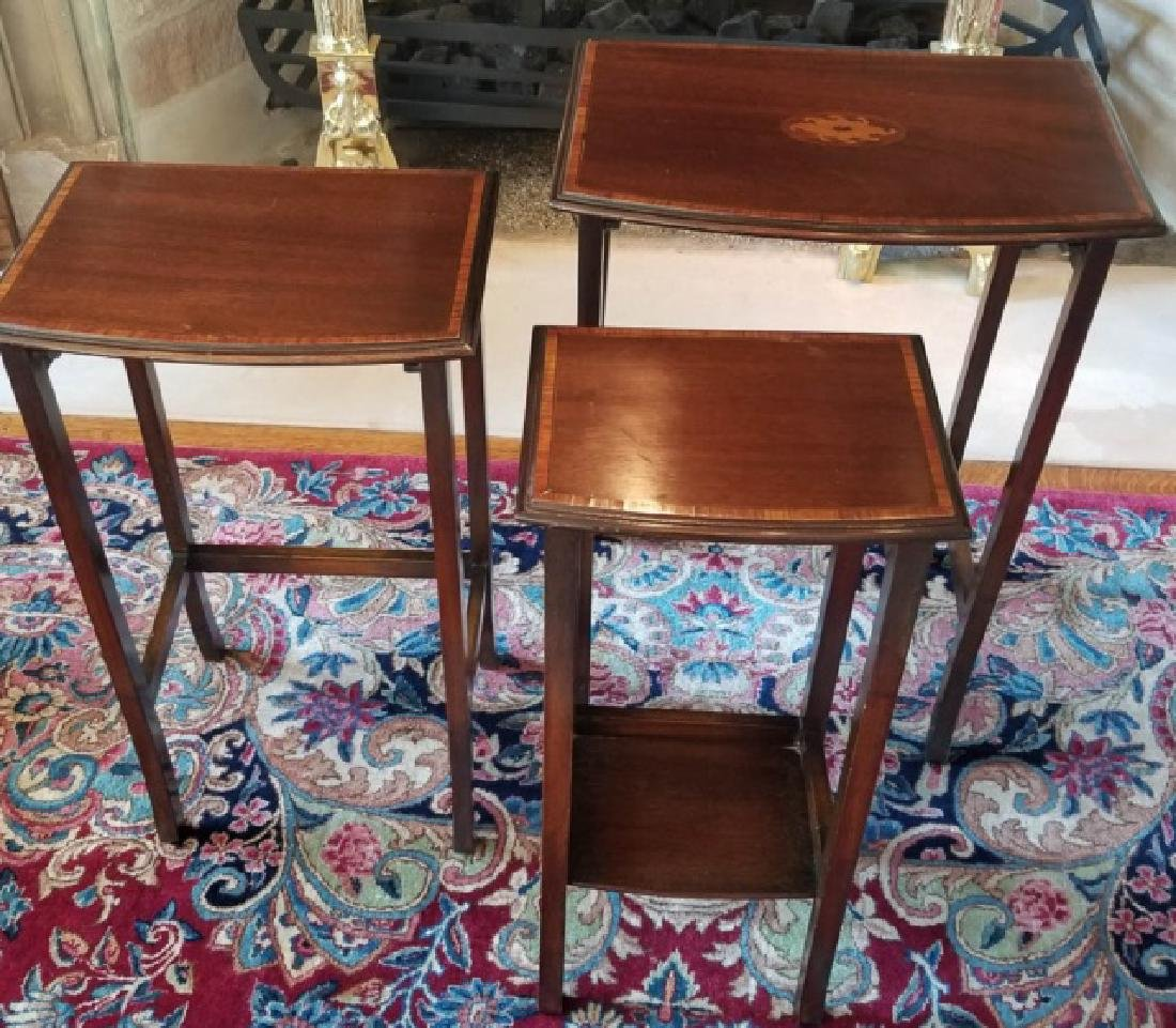 Three English Style Banded Wood Nesting Tables