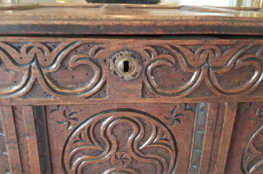 Antique English Jacobean Tudor Style Carved Chest - 3