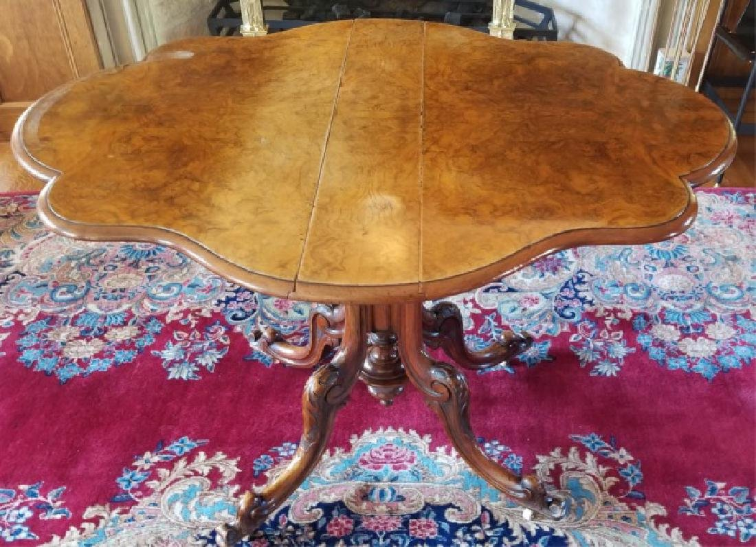 Antique Turtle Top Form Drop Leaf End Table