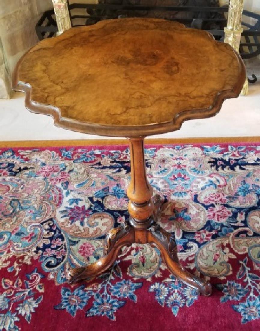 Antique Burl Wood Tilt Top Pedestal Base End Table