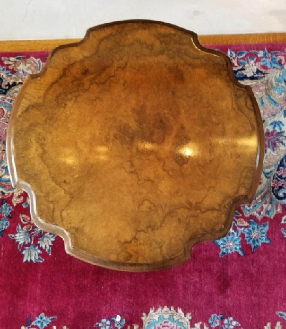 Antique Burl Wood Tilt Top Pedestal Base End Table - 4