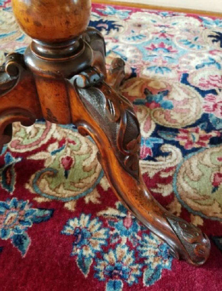 Antique Burl Wood Tilt Top Pedestal Base End Table - 5