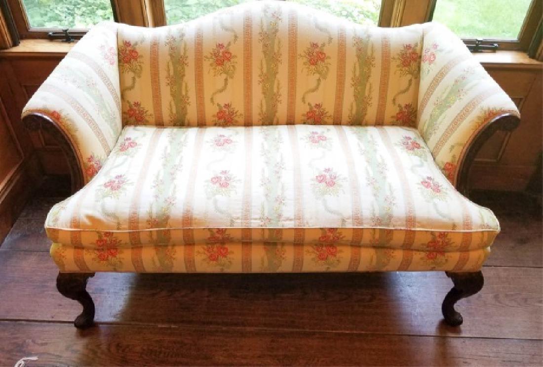 Antique Carved Leg Camel Back Damask Fabric Sofa