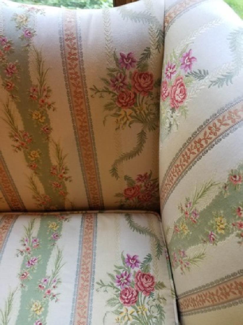 Antique Carved Leg Camel Back Damask Fabric Sofa - 5
