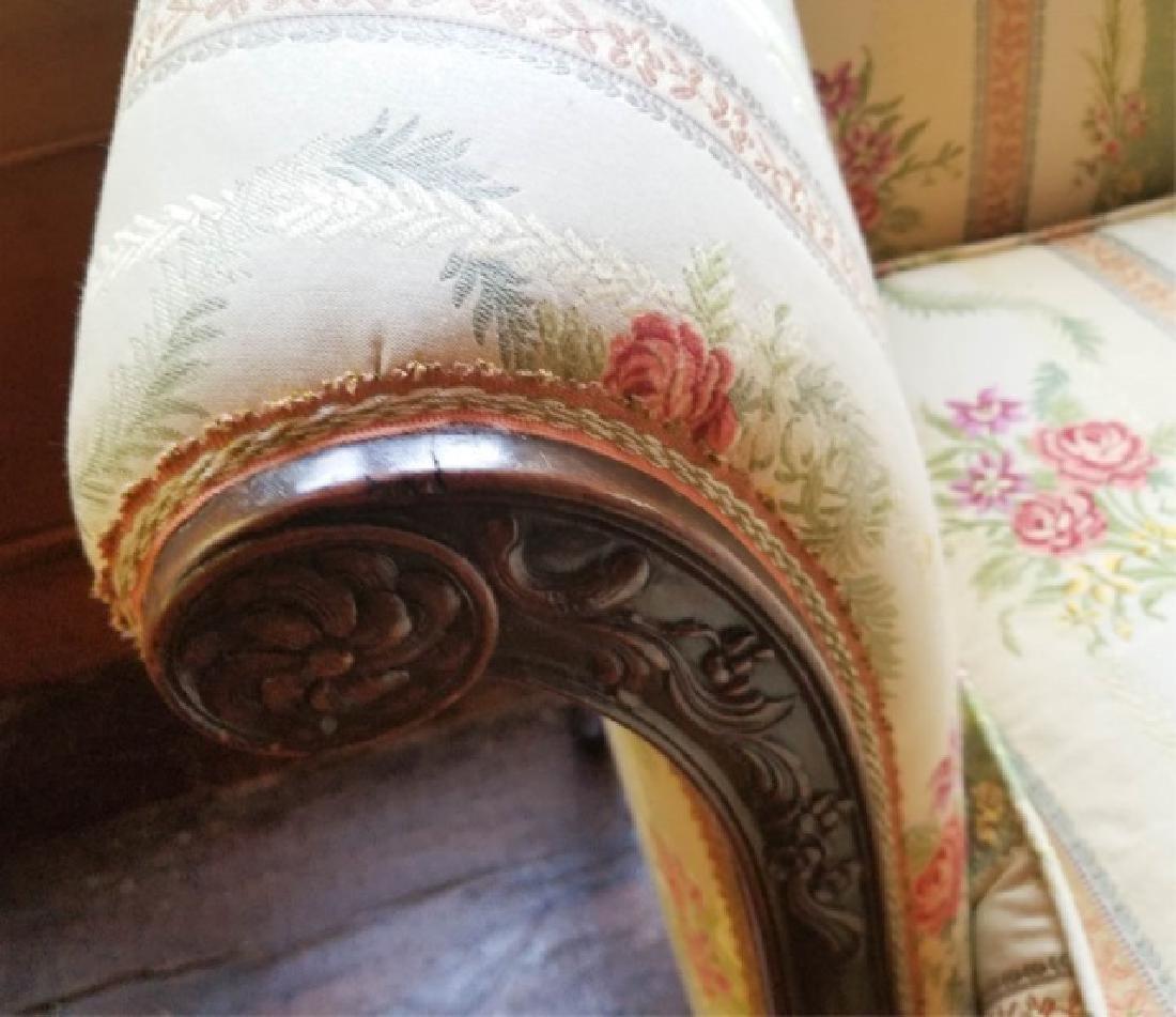Antique Carved Leg Camel Back Damask Fabric Sofa - 6