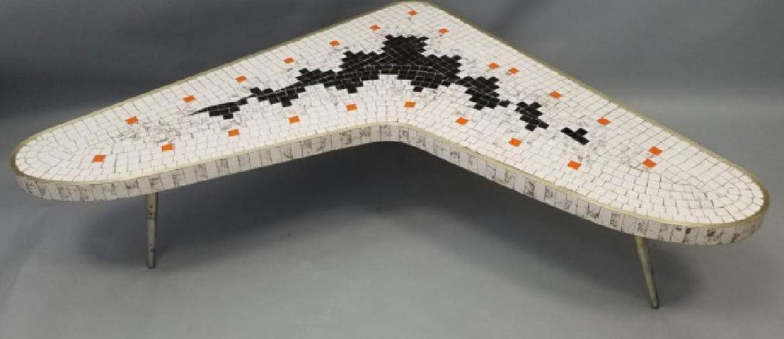 Mid Century Modern Mosaic Boomerang Coffee Table