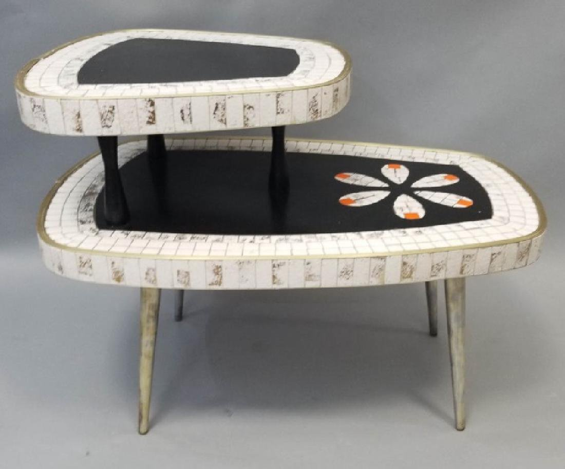 Mid Century Modern Mosaic Two Tier Coffee Table