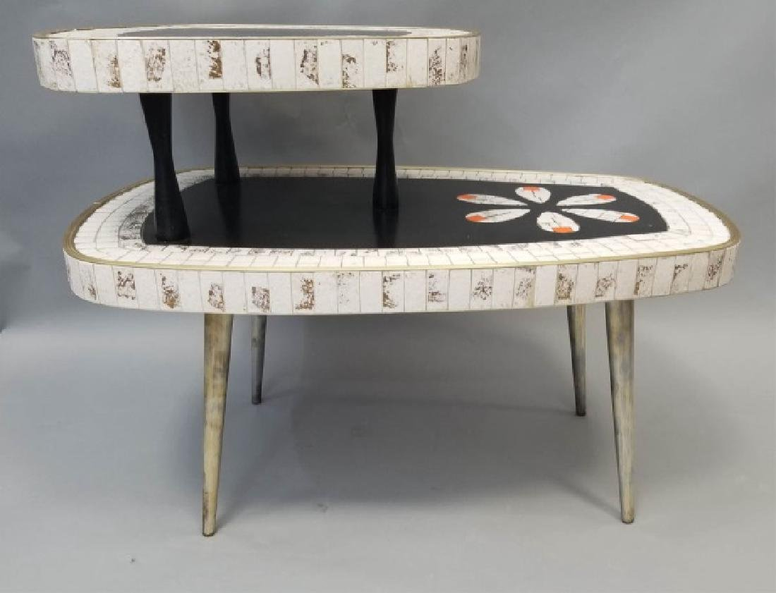 Mid Century Modern Mosaic Two Tier Coffee Table - 7
