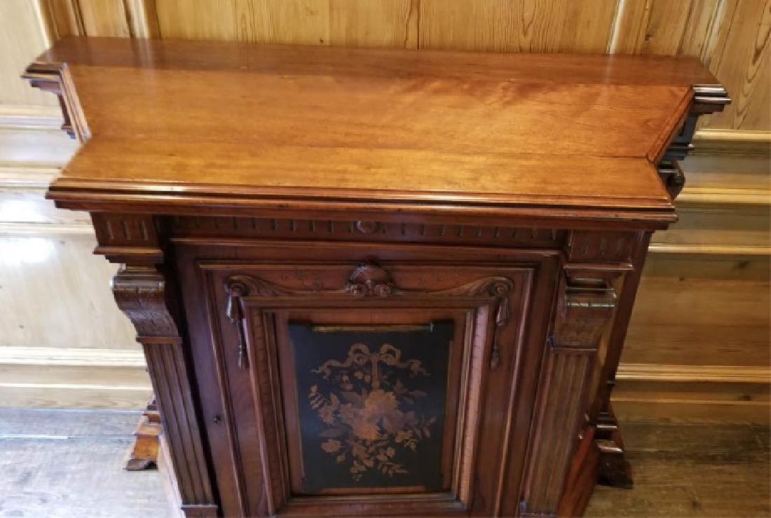 Antique 19th C Victorian Inlaid Console Cabinet - 2