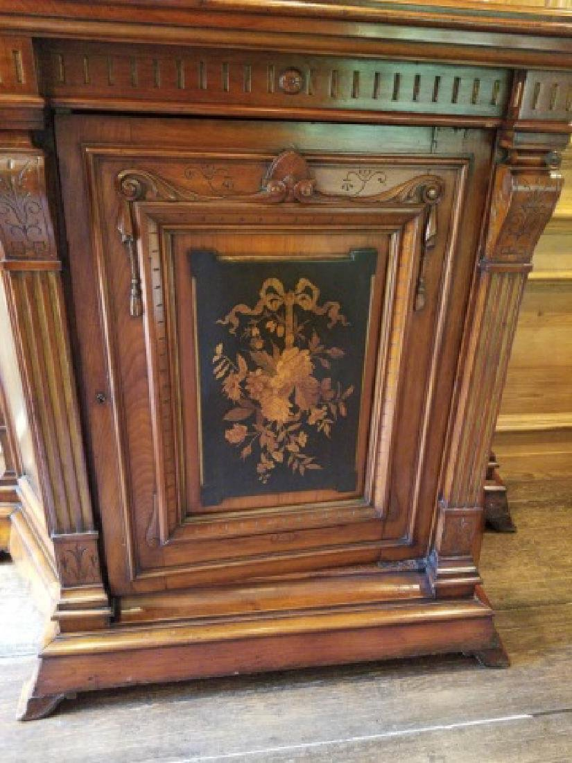 Antique 19th C Victorian Inlaid Console Cabinet - 3