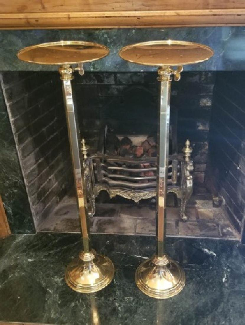 Pair Gilt Brass Display Pedestals / Plant Stands