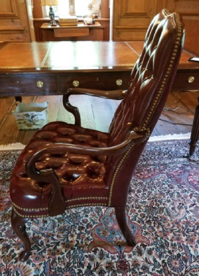 English Style Tufted Leather Carved Frame Armchair - 2