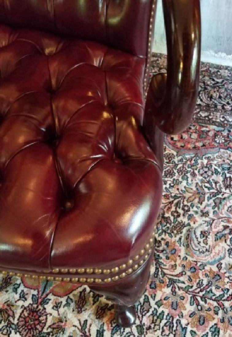 English Style Tufted Leather Carved Frame Armchair - 3
