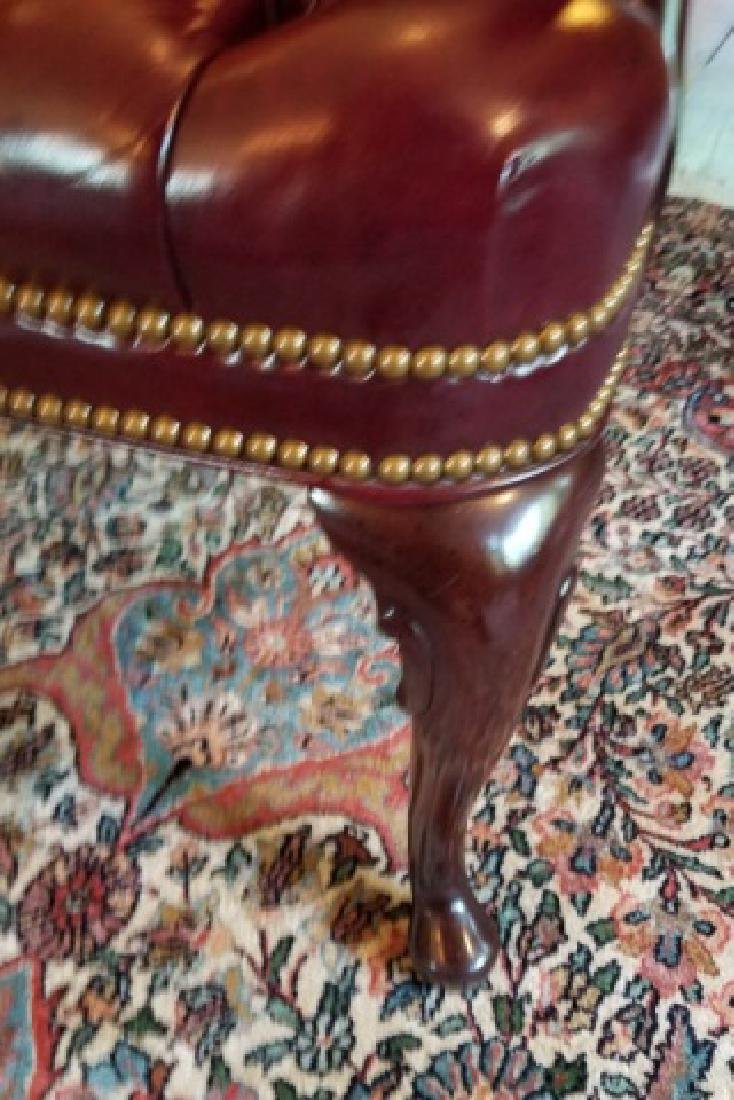 English Style Tufted Leather Carved Frame Armchair - 4