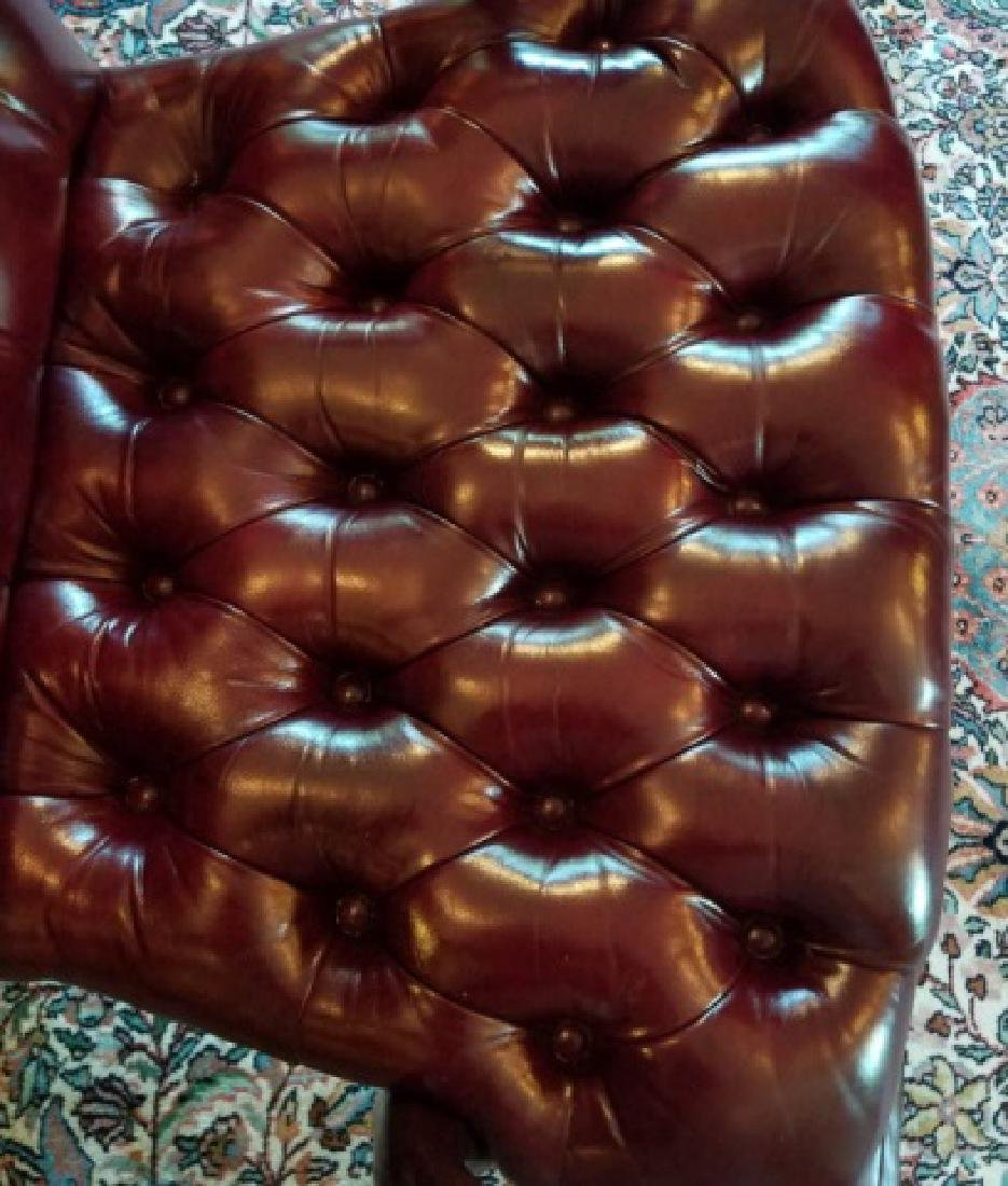 English Style Tufted Leather Carved Frame Armchair - 7