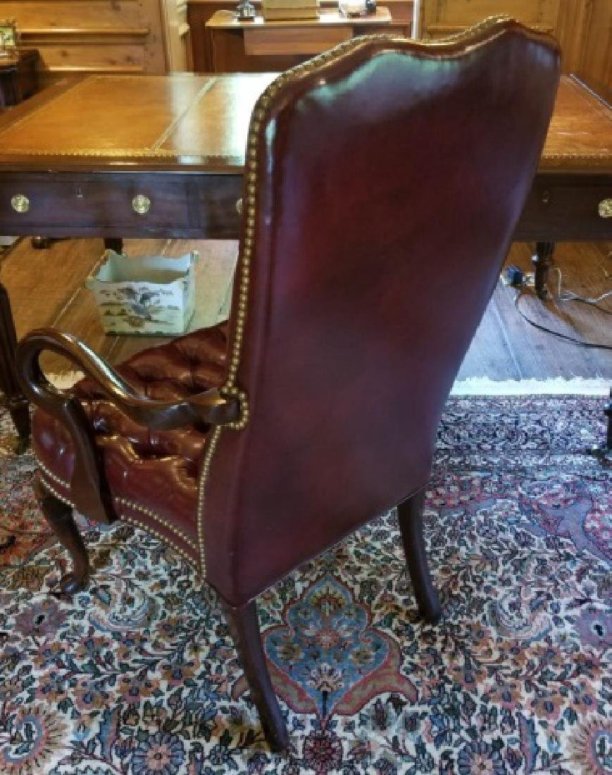 English Style Tufted Leather Carved Frame Armchair - 8