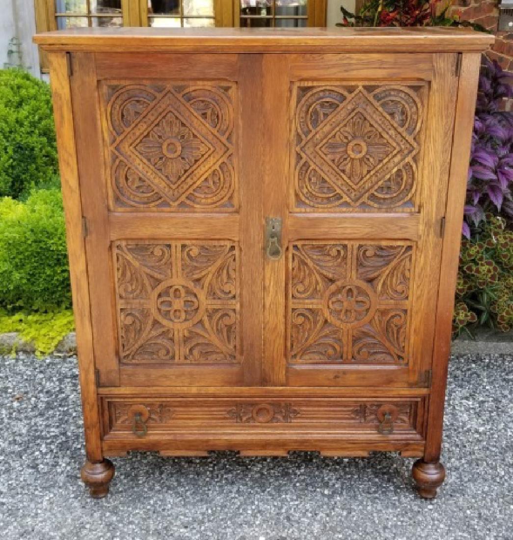 Antique English Jacobean / Tudor Cupboard Cabinet