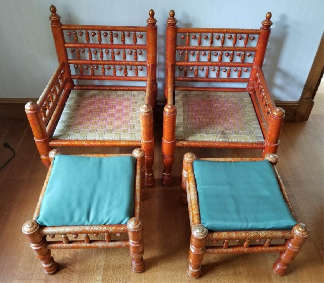 Pair Antique Handmade Punjabi Style Wedding Chairs