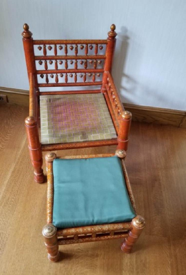 Pair Antique Handmade Punjabi Style Wedding Chairs - 3